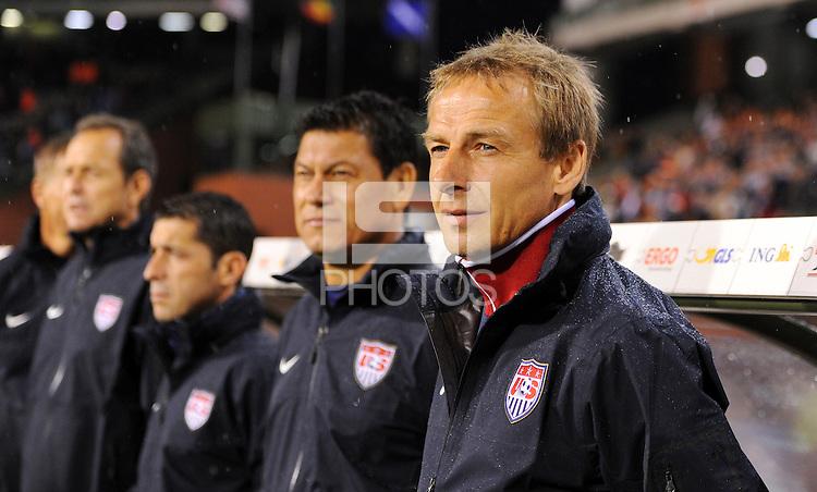 Jurgen Klinsmann (r), coach of team USA, and assistant coach Martin Vasquez during the friendly match Belgium against USA at King Baudoin stadium in Brussel, Belgium on September 06th, 2011.