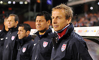 Jurgen Klinsmann (r), coach of team USA, and assistant coach Martin Vasquez during the friendly match Belgium against USA at King Baudoin stadium in Brussel, Belgium on September 06th, 2011.