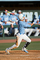 Brandon Martorano (4) of the North Carolina Tar Heels follows through on his swing against the Kentucky Wildcats at Boshmer Stadium on February 17, 2017 in Chapel Hill, North Carolina.  The Tar Heels defeated the Wildcats 3-1.  (Brian Westerholt/Four Seam Images)