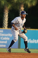 Wilmington Blue Rocks shortstop Christian Colon #12 in the field during a game vs. the Myrtle Beach Pelicans at BB&T Coastal Field in Myrtle Beach,SC on July 19, 2010.   Wilmington defeated Myrtle Beach by the score of 2-0.  Photo By Robert Gurganus/Four Seam Images