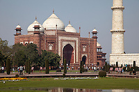Agra, India.  The Mosque adjacent to the Taj Mahal.