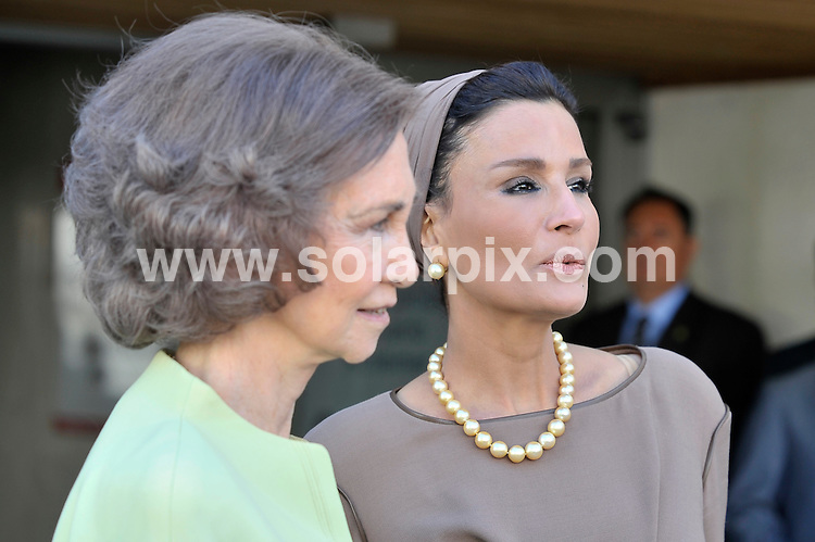**ALL ROUND PICTURES FROM SOLARPIX.COM**                                             **WORLDWIDE SYNDICATION RIGHTS EXCEPT SPAIN - NO SYNDICATION IN SPAIN**                                                                                  Caption: Queen Sofia of Spain and the Sheikha of Qatar, Jaquesa Mozah Bint Nassar visit the Alzheimer Center of the Queen Sofia Foundation in Madrid, Madrid, Spain. 26 April 2011 This pic: Queen Sofia, Jaquesa Mozah Bint Nassar                                                      JOB REF: 13205 DMS Jesus     DATE: 26_04_2011                                                           **MUST CREDIT SOLARPIX.COM OR DOUBLE FEE WILL BE CHARGED**                                                                      **MUST AGREE FEE BEFORE ONLINE USAGE**                               **CALL US ON: +34 952 811 768 or LOW RATE FROM UK 0844 617 7637**