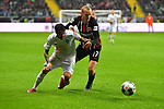 06.10.2019, Commerzbankarena, Frankfurt, GER, 1. FBL, Eintracht Frankfurt vs. SV Werder Bremen, <br /> <br /> DFL REGULATIONS PROHIBIT ANY USE OF PHOTOGRAPHS AS IMAGE SEQUENCES AND/OR QUASI-VIDEO.<br /> <br /> im Bild: Leonardo Bittencourt (SV Werder Bremen #10) gegen Sebastian Rode (Eintracht Frankfurt #17)<br /> <br /> Foto © nordphoto / Fabisch
