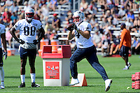 Wednesday, August 17, 2016: New England Patriots tight end Steven Scheu (44) makes a catch a joint training camp session between the Chicago Bears and the New England Patriots held at Gillette Stadium in Foxborough Massachusetts. Eric Canha/CSM