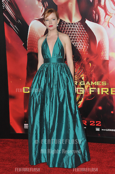 Stef Dawson at the US premiere of her movie &quot;The Hunger Games: Catching Fire&quot; at the Nokia Theatre LA Live.<br /> November 18, 2013  Los Angeles, CA<br /> Picture: Paul Smith / Featureflash