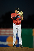 Batavia Muckdogs relief pitcher Tanner Andrews (34) looks in for the sign during a game against the West Virginia Black Bears on July 3, 2018 at Dwyer Stadium in Batavia, New York.  Batavia defeated West Virginia 5-4.  (Mike Janes/Four Seam Images)