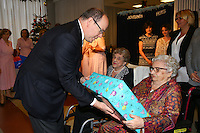 Prince Albert II Of Monaco offers gifts to senior people at Cap Fleuri nursing home - Monaco