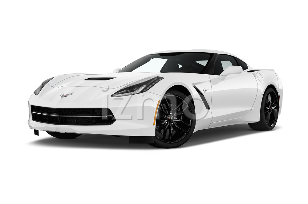 Stock pictures of low aggressive front three quarter view of 2019 Chevrolet Corvette-Stingray 3LT 2 Door Coupe Low Aggressive
