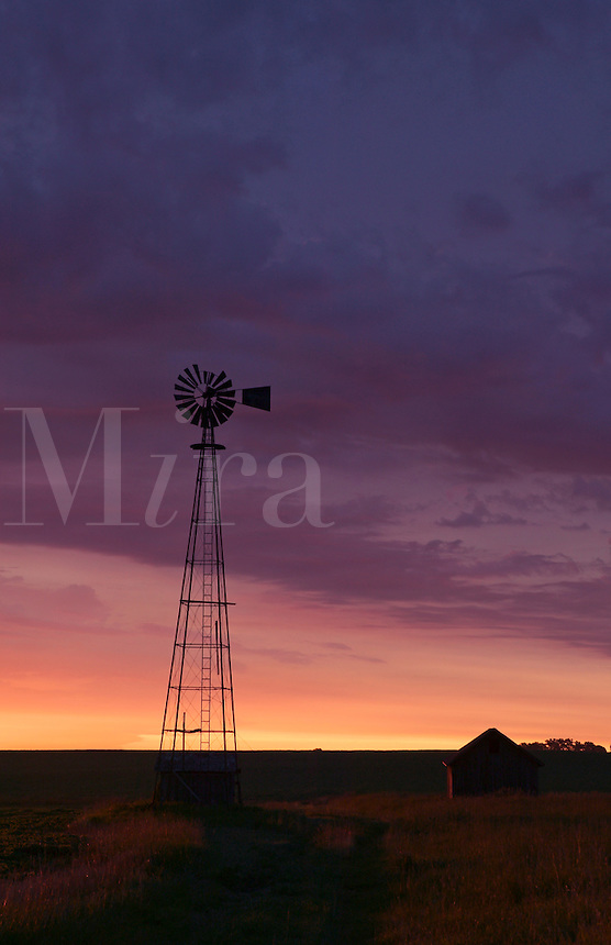 Windmill at sunrise, Howard County, Iowa