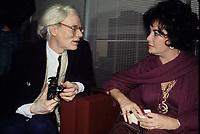 Warhol Taylor3742.JPG<br /> New York, NY 1978 FILE PHOTO<br /> Andy Warhol & Liz Taylor<br /> Digital photo by Adam Scull-PHOTOlink.net<br /> ONE TIME REPRODUCTION RIGHTS ONLY<br /> NO WEBSITE USE WITHOUT AGREEMENT<br /> 718-487-4334-OFFICE  718-374-3733-FAX (Newscom TagID: phlphotos222070.jpg) [Photo via Newscom]