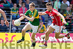 Diarmuid O'Connor Kerry in action against Nathan Walsh Cork in the Munster Minor Football Final in Fitzgerald Stadium, Killarney on Sunday last.