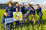 Ring a ring a Rosie: James O'Donoghue gives Ambrose O'Donovan a push to help Ambrose O'Donovan to get into training for the Kerry GAA Cycle Challenge which will start at Fitzgerald Stadium on Saturday May 16th l-r: Pat Looney, Stephen O'Sullivan, Siobhain Looney, Tom Tobin, Oisin O'Mahony, Ambrose O'Donovan and James O'Donoghue