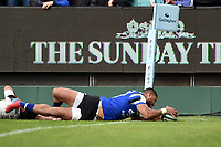Joe Cokanasiga of Bath Rugby scores a try in the second half. Gallagher Premiership match, between Bath Rugby and Wasps on May 5, 2019 at the Recreation Ground in Bath, England. Photo by: Patrick Khachfe / Onside Images