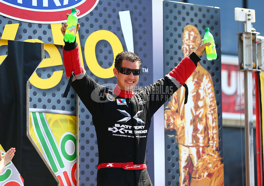 Jun. 2, 2013; Englishtown, NJ, USA: NHRA top fuel dragster driver Spencer Massey during the Summer Nationals at Raceway Park. Mandatory Credit: Mark J. Rebilas-
