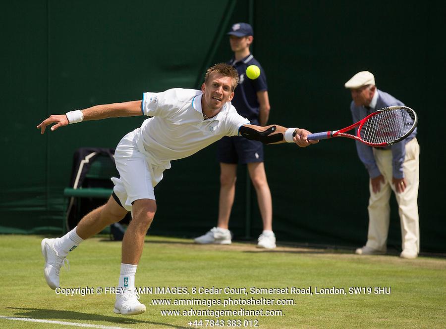 Jarkko Nieminen<br /> <br /> Tennis - The Championships Wimbledon  - Grand Slam -  All England Lawn Tennis Club  2013 -  Wimbledon - London - United Kingdom - Tuesday 25th June  2013. <br /> &copy; AMN Images, 8 Cedar Court, Somerset Road, London, SW19 5HU<br /> Tel - +44 7843383012<br /> mfrey@advantagemedianet.com<br /> www.amnimages.photoshelter.com<br /> www.advantagemedianet.com<br /> www.tennishead.net