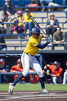 Michigan Wolverines third baseman Drew Lugbauer (17) at bat against the Illinois Fighting Illini during the NCAA baseball game on April 8, 2017 at Ray Fisher Stadium in Ann Arbor, Michigan. Michigan defeated Illinois 7-0. (Andrew Woolley/Four Seam Images)