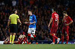 23.08.2018 Rangers v Ufa: Kyle Lafferty reacts after being booked