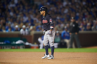 Cleveland Indians Michael Martinez (1) leads off second base in the seventh inning during Game 3 of the Major League Baseball World Series against the Chicago Cubs on October 28, 2016 at Wrigley Field in Chicago, Illinois.  (Mike Janes/Four Seam Images)