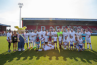 Team Photo pre match during the 'Greatest Show on Turf' Celebrity Event - Once in a Blue Moon Events at the London Borough of Barking and Dagenham Stadium, London, England on 8 May 2016. Photo by Andy Rowland.