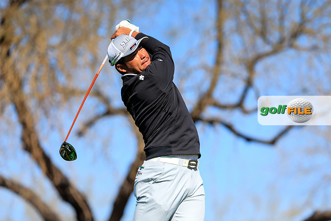 Hideki Matsuyama (JPN) on the 6th tee during the 2nd round of the Waste Management Phoenix Open, TPC Scottsdale, Scottsdale, Arisona, USA. 01/02/2019.<br /> Picture Fran Caffrey / Golffile.ie<br /> <br /> All photo usage must carry mandatory copyright credit (© Golffile | Fran Caffrey)