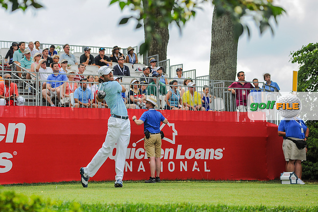 Andrew Loupe (USA) watches his tee shot on 1 during round 2 of the 2016 Quicken Loans National, Congressional Country Club, Bethesda, Maryland, USA. 6/24/2016.<br /> Picture: Golffile | Ken Murray<br /> <br /> <br /> All photo usage must carry mandatory copyright credit (&copy; Golffile | Ken Murray)