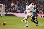 Real Madrid's Danilo Luiz Da Silva and Real Sociedad's Kevin Rodriguez during La Liga match between Real Madrid and Real Sociedad at Santiago Bernabeu Stadium in Madrid, Spain. January 29, 2017. (ALTERPHOTOS/BorjaB.Hojas)