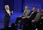 Former United States Secretary of State Hillary Clinton, the Democratic Party nominee for President of the US, appears in the second of three presidential general election debates with businessman Donald J. Trump, the Republican Party candidate for President of the US, at Washington University in St. Louis, Missouri on Sunday, October 8, 2016.<br /> Credit: Ron Sachs / CNP<br /> (RESTRICTION: NO New York or New Jersey Newspapers or newspapers within a 75 mile radius of New York City)
