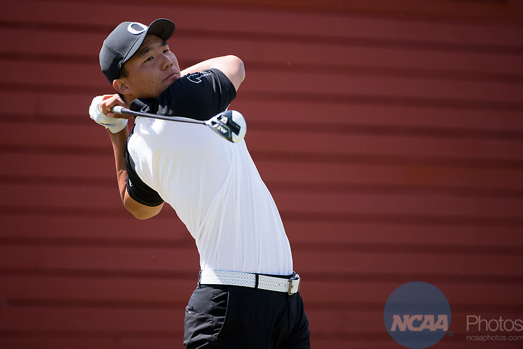 SUGAR GROVE, IL - MAY 31: Norman Xiong of the University of Oregon tees off during the Division I Men's Golf Team Championship held at Rich Harvest Farms on May 31, 2017 in Sugar Grove, Illinois. Oklahoma won the team national title. (Photo by Jamie Schwaberow/NCAA Photos via Getty Images)