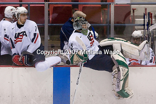 (Fairchild) Jamie McBain (US/UWisconsin - Faribault, MN), (Taylor), Kent Patterson (US/Cedar Rapids - Plymouth, MN) (Strait) - Team White for the USA defeated Team Finland 5-4  on Wednesday, August 8, 2007, in the 1980 Rink at Lake Placid, New York during the Summer Hockey Challenge.