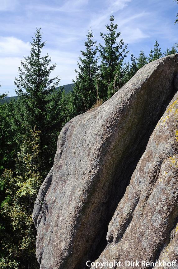 Granitklippe Trudenstein bei den Hohneklippen im Nationalpark Harz, Sachsen-Anhalt, Deutschland