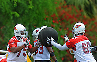May 20, 2009; Tempe, AZ, USA; Arizona Cardinals tackle (75) Levi Brown does medicine ball drills with tackle (69) Mike Gandy during organized team activities at the Cardinals practice facility. Mandatory Credit: Mark J. Rebilas-