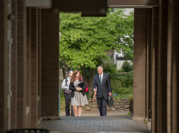 President Nellis with staff on College Green during his first day as Ohio University's 21 President.