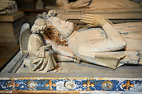Medieval tomb of  Philippe of France (1235), son of Louis VIII and brother of saint Louis IX. . The Gothic Cathedral Basilica of Saint Denis ( Basilique Saint-Denis ) Paris, France. A UNESCO World Heritage Site.