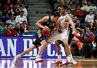 Brose's Casey Jacobsen and Real Madrid's Rudy Fernandez during Euroliga match. February 28,2013.(ALTERPHOTOS/Alconada)