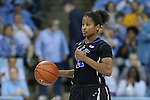 02 March 2014: Duke's Ka'lia Johnson. The University of North Carolina Tar Heels played the Duke University Blue Devils in an NCAA Division I women's basketball game at Carmichael Arena in Chapel Hill, North Carolina. UNC won the game 64-60.