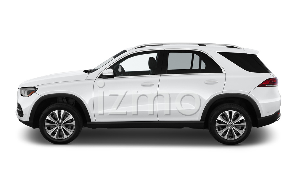 Car Driver side profile view of a 2020 Mercedes Benz GLE 350 5 Door SUV Side View