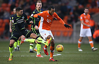 Blackpool's Nathan Delfouneso and Bristol Rovers' Liam Sercombe<br /> <br /> Photographer Stephen White/CameraSport<br /> <br /> The EFL Sky Bet League One - Blackpool v Bristol Rovers - Saturday 13th January 2018 - Bloomfield Road - Blackpool<br /> <br /> World Copyright &copy; 2018 CameraSport. All rights reserved. 43 Linden Ave. Countesthorpe. Leicester. England. LE8 5PG - Tel: +44 (0) 116 277 4147 - admin@camerasport.com - www.camerasport.com