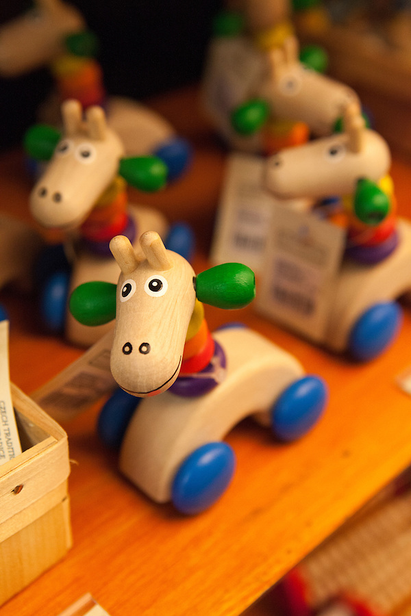 Traditional Czech handmade wooden toys, Prague, Czech Republic, Europe