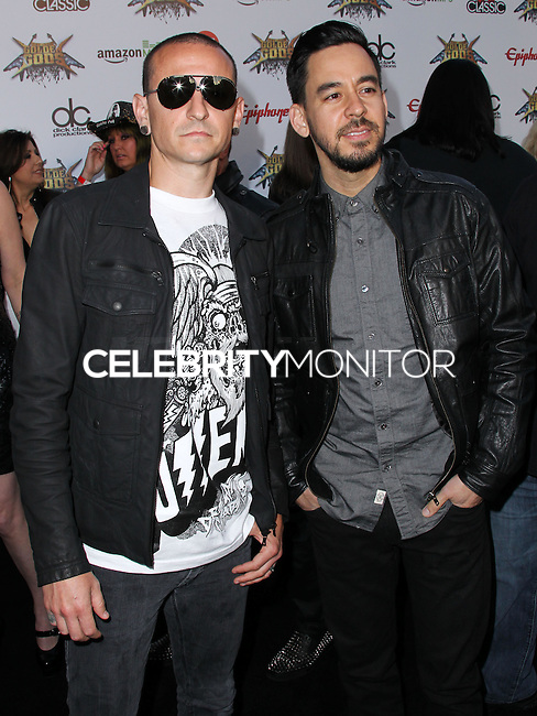 LOS ANGELES, CA, USA - APRIL 23: Chester Bennington, Mike Shinoda at the 2014 Revolver Golden Gods Award Show held at Club Nokia on April 23, 2014 in Los Angeles, California, United States. (Photo by Xavier Collin/Celebrity Monitor)