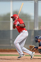 Cincinnati Reds infielder Montrell Marshall (9) during an Instructional League game against the Milwaukee Brewers on October 6, 2014 at Maryvale Baseball Park Training Complex in Phoenix, Arizona.  (Mike Janes/Four Seam Images)