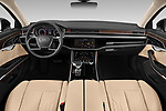 Stock photo of straight dashboard view of 2019 Audi A8-L - 4 Door Sedan Dashboard