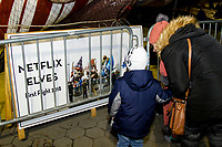 NEW YORK, NY – NOVEMBER 21: A boy and his mother visit the balloons of the annual Macy's Thanksgiving Day parade the night before the parade on November 21, 2018 in New York City. (Photo by Pablo Monsalve /VIEWPress)