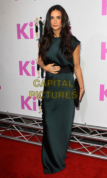"DEMI MOORE.""Killers"" Los Angeles Premiere - Arrivals  held at The Cinerama Dome, Hollywood, California, USA..June 1st, 2010 .full length blue dress silk satin maxi black belt clutch bag hand.CAP/ADM/TC.©T. Conrad/AdMedia/Capital Pictures."