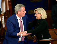 United States House Minority Leader Kevin McCarthy (Republican of California), left, and US Representative Liz Cheney (Republican of Wyoming) embrace following Cheney's speech nominating McCarthy as Speaker of the US House of Representatives as the 116th Congress convenes for its opening session in the US House Chamber of the US Capitol in Washington, DC on Thursday, January 3, 2019. Photo Credit: Ron Sachs/CNP/AdMedia