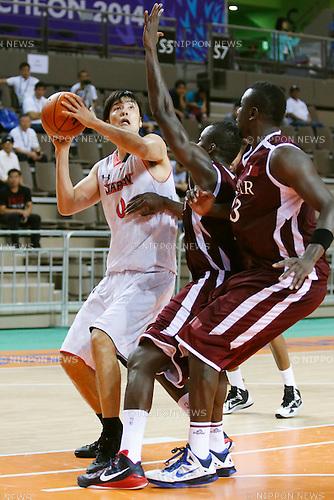 Kosuke Takeuchi (JPN), <br /> SEPTEMBER 25, 2014 - Basketball : <br /> Men's Preliminary <br /> between Japan 71-72 Qatar <br /> at Samsan World Gymnasium <br /> during the 2014 Incheon Asian Games in Incheon, South Korea. <br /> (Photo by AFLO SPORT)