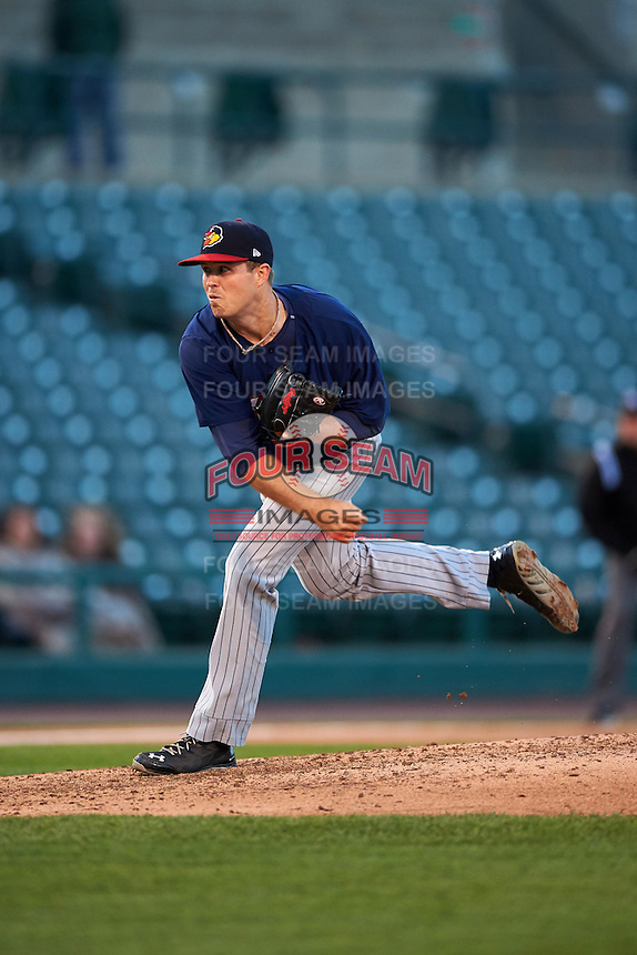 Toledo Mudhens pitcher Buck Farmer (30) follows through on a pitch during a game against the Rochester Red Wings on May 12, 2015 at Frontier Field in Rochester, New York.  Toledo defeated Rochester 8-0.  (Mike Janes/Four Seam Images)