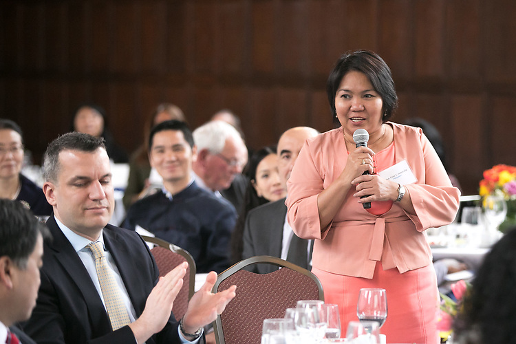 Gina Jamoralin, Philippine Consul General of Chicago, thanks DePaul University for hosting the 13th Annual Consular Corps Luncheon, Tuesday, April 3, 2018, on the Lincoln Park Campus. The event brings together members of the international consulate community with university staff and faculty in an effort to promote partnerships and educational programs. (DePaul University/Jamie Moncrief)
