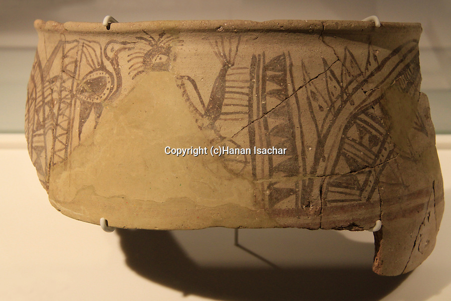 A 12th-11th centuries BC Philistine krater from Ashkelon, at the Corinne Maman Museum of Philistine Culture in Ashdod