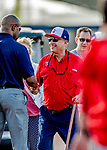 23 February 2019: Washington Nationals Principal Owner Mark Lerner greets former player and now MASN Broadcaster Bo Porter prior to a Spring Training game against the Houston Astros at the Ballpark of the Palm Beaches in West Palm Beach, Florida. The Nationals walked off with a 7-6 Opening Game win to start the Grapefruit League season. Mandatory Credit: Ed Wolfstein Photo *** RAW (NEF) Image File Available ***
