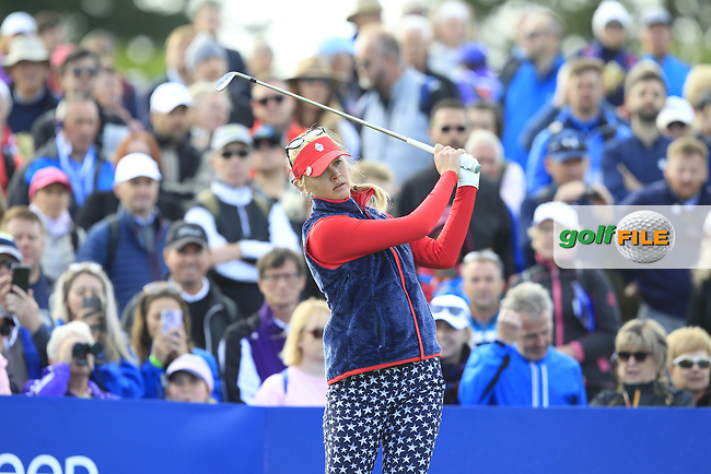 Jessica Korda of Team USA on the 10th tee during Day 1 Fourball at the Solheim Cup 2019, Gleneagles Golf CLub, Auchterarder, Perthshire, Scotland. 13/09/2019.<br /> Picture Thos Caffrey / Golffile.ie<br /> <br /> All photo usage must carry mandatory copyright credit (© Golffile   Thos Caffrey)